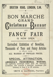 Advertisement for a Grand Christmas Bazaar at the Bon Marché store